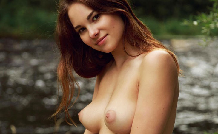 Diana Shows Perky Tits Outside